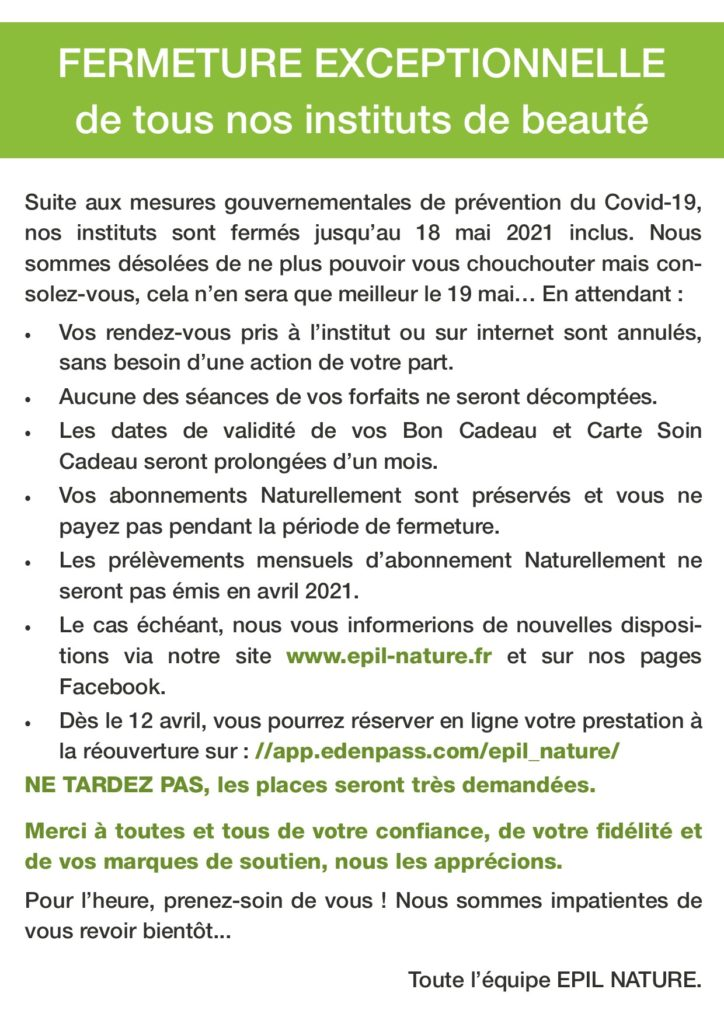 Communication Fermeture Covid-030421
